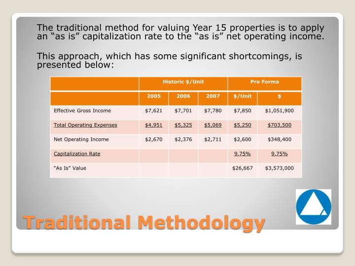 """The traditional method for valuing Year 15 properties is to apply an """"as is"""" capitalization rate to the """"as is"""" net operating income."""