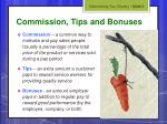 commission tips and bonuses