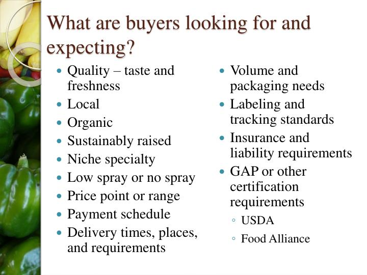What are buyers looking for and expecting?