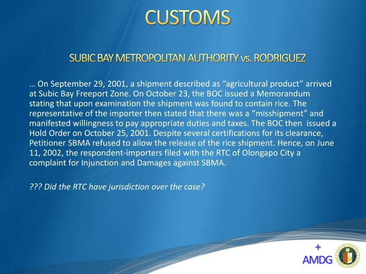 SUBIC BAY METROPOLITAN AUTHORITY vs. RODRIGUEZ