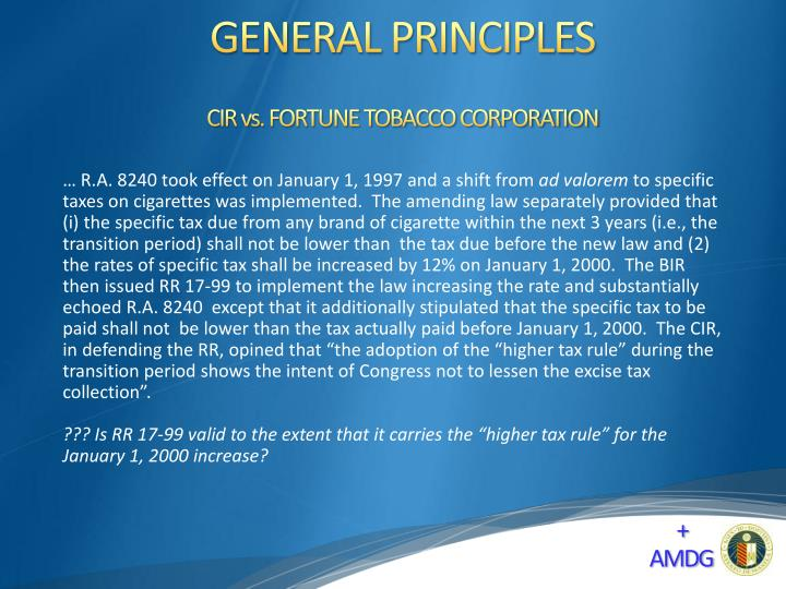 CIR vs. FORTUNE TOBACCO CORPORATION