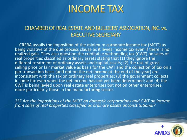CHAMBER OF REAL ESTATE AND BUILDERS' ASSOCIATION, INC. vs. EXECUTIVE SECRETARY