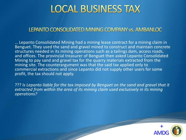 LEPANTO CONSOLIDATED MINING COMPANY vs. AMBANLOC