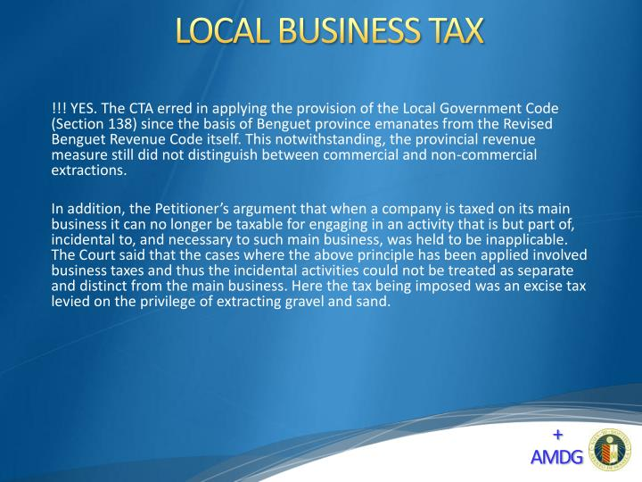 LOCAL BUSINESS TAX