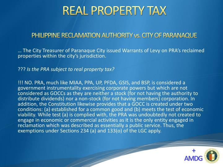 PHILIPPINE RECLAMATION AUTHORITY vs. CITY OF PARANAQUE