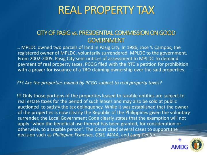 CITY OF PASIG vs. PRESIDENTIAL COMMISSION ON GOOD GOVERNMENT