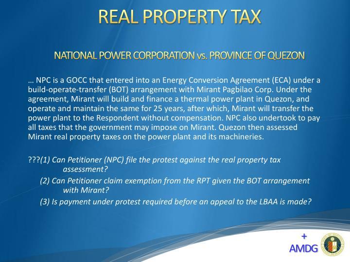 NATIONAL POWER CORPORATION vs. PROVINCE OF QUEZON