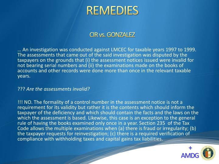 CIR vs. GONZALEZ