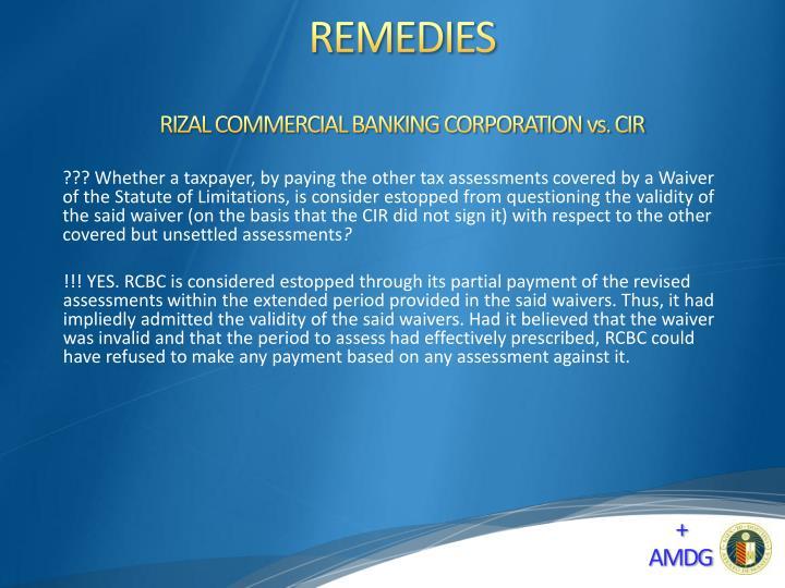 RIZAL COMMERCIAL BANKING CORPORATION vs. CIR