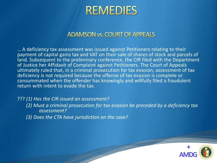 ADAMSON vs. COURT OF APPEALS