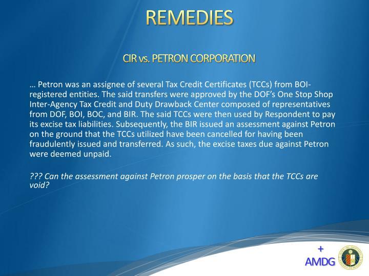 CIR vs. PETRON CORPORATION