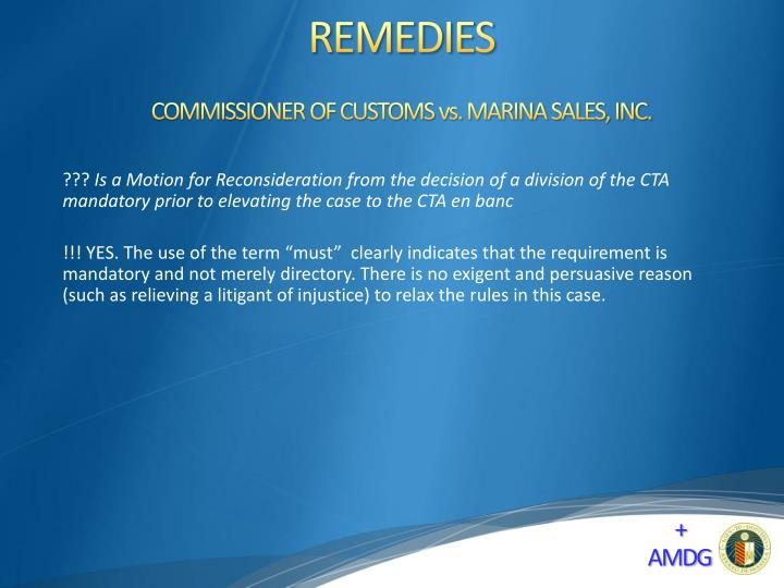 COMMISSIONER OF CUSTOMS vs. MARINA SALES, INC.
