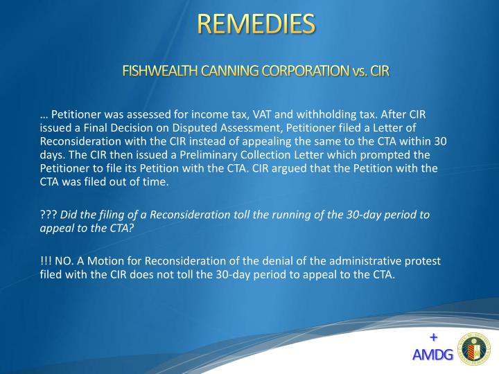 FISHWEALTH CANNING CORPORATION vs. CIR