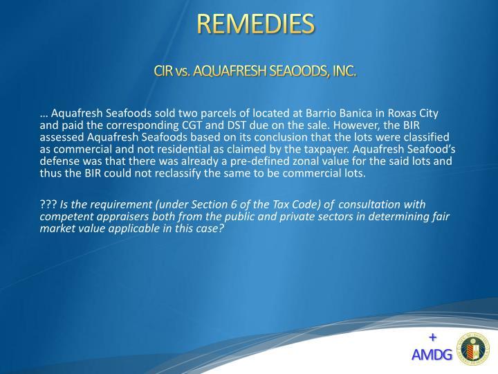 CIR vs. AQUAFRESH SEAOODS, INC.