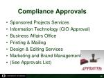 compliance approvals