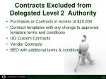 contracts excluded from delegated level 2 authority