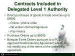 contracts included in delegated level 1 authority