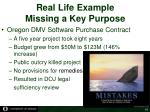 real life example missing a key purpose