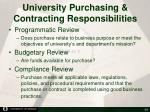 university purchasing contracting responsibilities