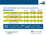 cost reduction can have very positive outcomes