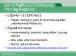 animal welfare act contingency planning regulation
