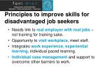 principles to improve skills for disadvantaged job seekers