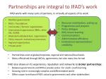 partnerships are integral to ifad s work