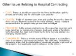 other issues relating to hospital contracting