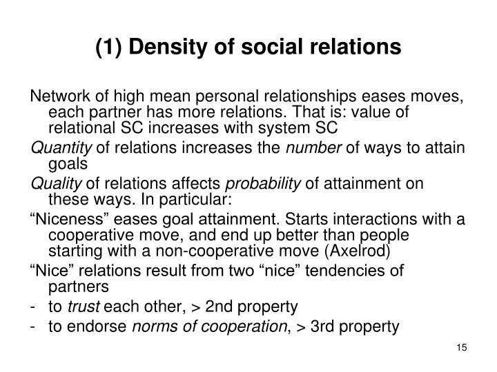 (1) Density of social relations
