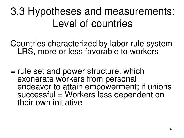 3.3 Hypotheses and measurements: