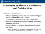 statements by mentors co mentors and collaborators
