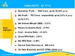 highlights q1 fy141