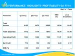 performance highlights profitability q1 fy14