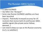 the russian gnss system