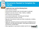 documents needed to complete the fafsa