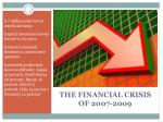 the financial crisis of 2007 20091