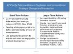 2 clarify policy to reduce confusion and to incentivize strategic change and innovation