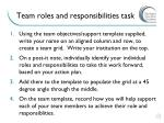 team roles and responsibilities task