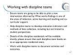 working with discipline teams