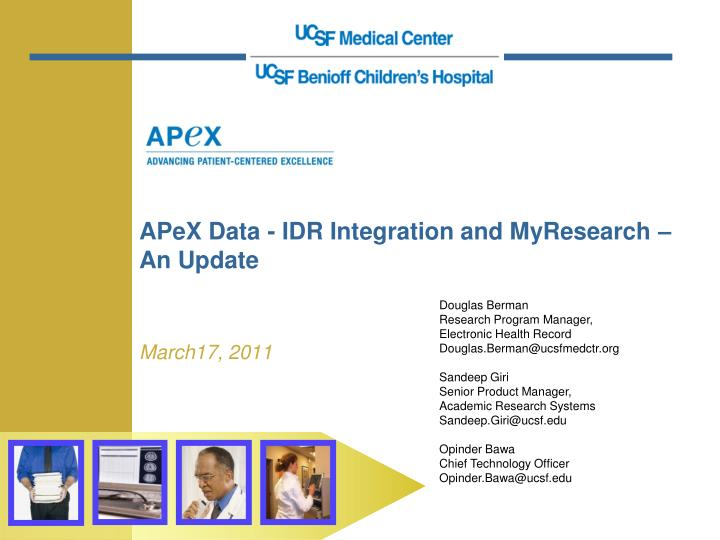 apex data idr integration and myresearch an update n.