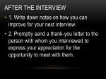 after the interview