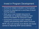 invest in program development