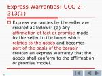 express warranties ucc 2 313 1
