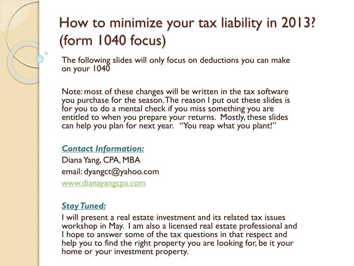 how to minimize your tax liability in 2013 form 1040 focus n.