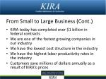 from small to large business cont
