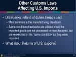 other customs laws affecting u s imports