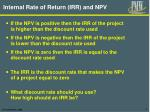 internal rate of return irr and npv