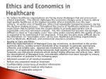 ethics and economics in healthcare