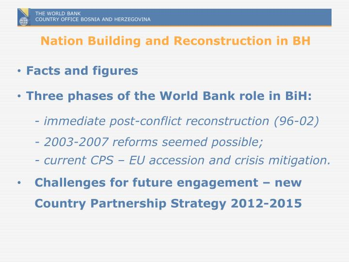Nation building and reconstruction in bh