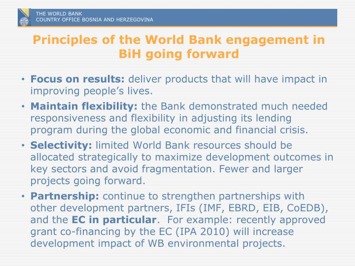 Principles of the World Bank engagement in